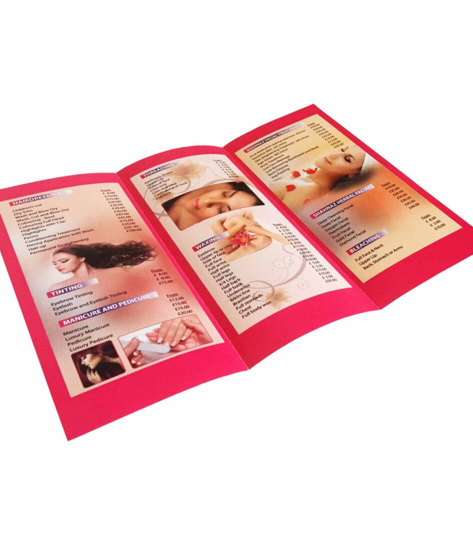 A3 tri folded leaflet printing with Free UK delivery
