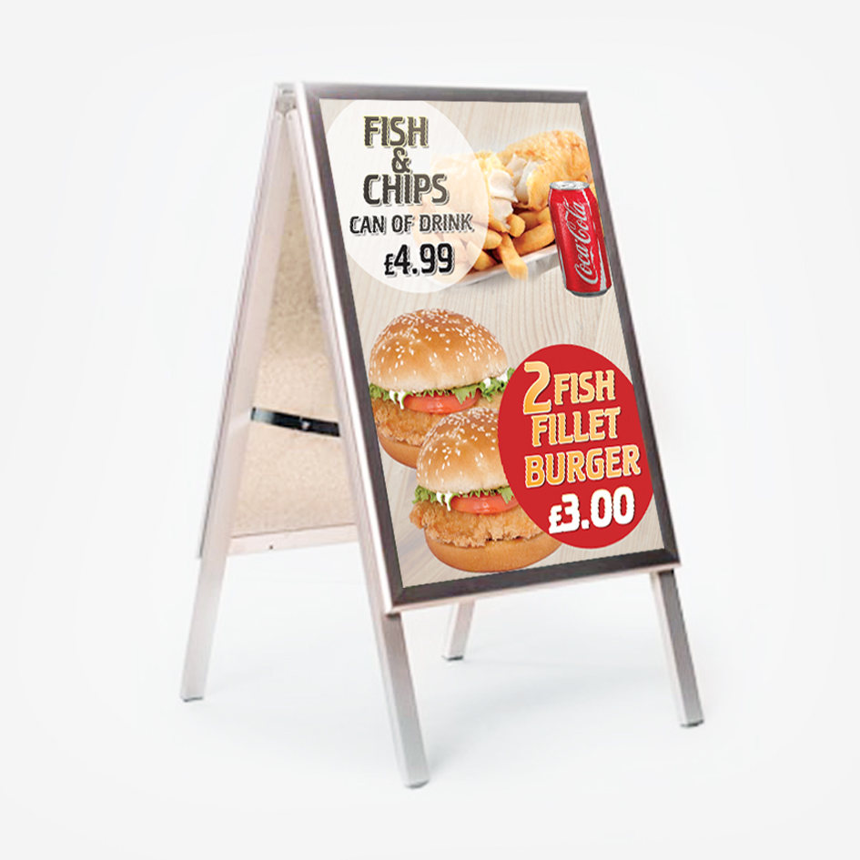 30 inch x 40 inch Silver A-Frame and Graphics - RushPrint