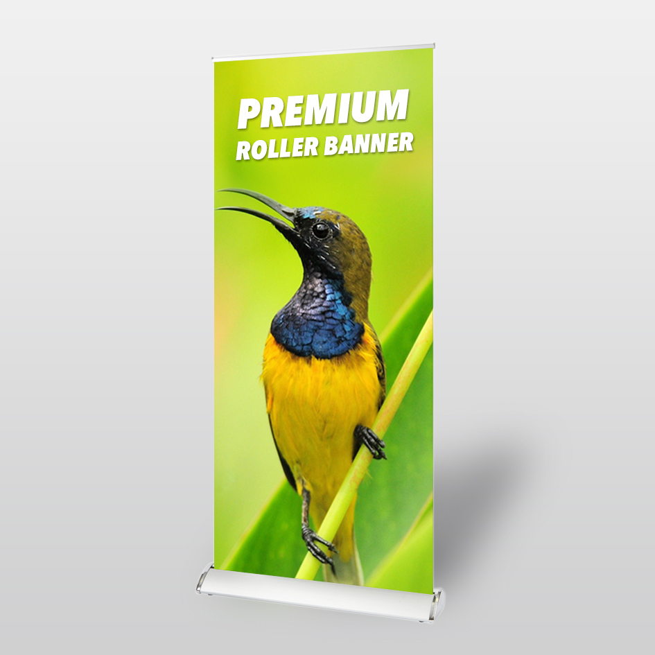 cheap and quick premium roller banner printing and design in harrow from Rushprint