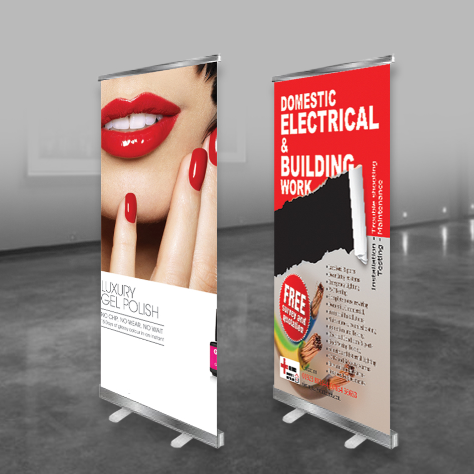 Roller banner printing and design | pull up banner | standard roller banner printing UK with free delivery