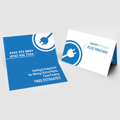 folded business cards with gloss or matt laminate | Rushprint